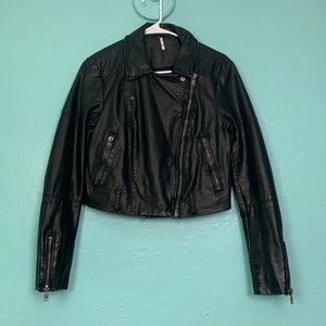 Free People Faux Leather Cropped Moto Jacket